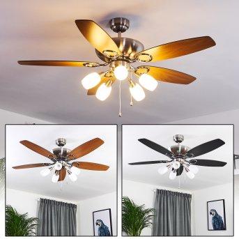 Irving ventilatore da soffitto Cromo, Grigio, Legno chiaro, 5-Luci