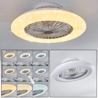 Piraeus ventilatore da soffitto LED Bianco, Titanio, 1-Luce, Telecomando