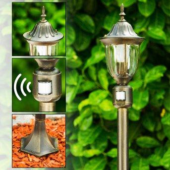 Ribadeo Lampioncino Segnapasso Nero-Oro, 1-Luce, Sensori di movimento
