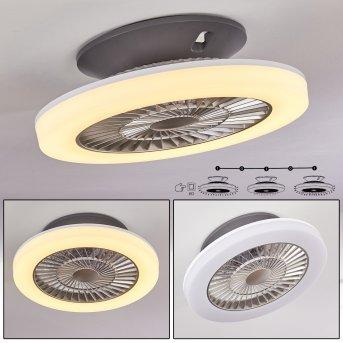 Somalia ventilatore da soffitto LED Argento, Trasparente, chiaro, 1-Luce