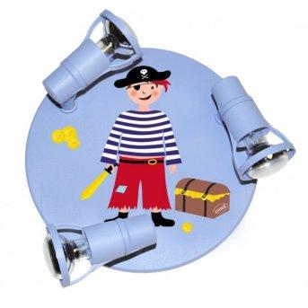 Waldi Pirat Plafoniera rotonda Blu, 3-Luci