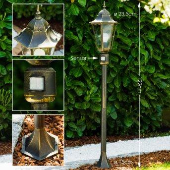 Bristol Lampada da terra per esterno Ottone, Oro, 1-Luce, Sensori di movimento