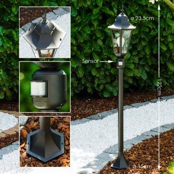 Bristol Lampada da terra per esterno Nero, 1-Luce, Sensori di movimento