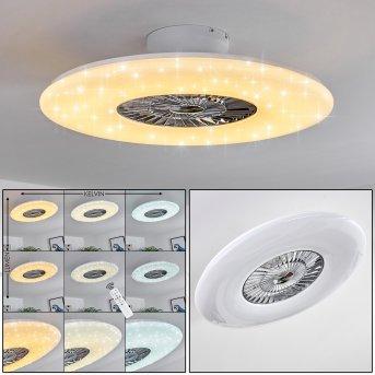 Petrovac ventilatore da soffitto LED Cromo, Bianco, 1-Luce, Telecomando