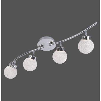 Leuchten Direkt MIKO Plafoniera LED Cromo, 4-Luci, Telecomando, Cambia colore
