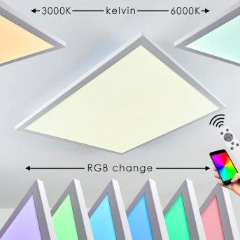 Salmi Plafoniera LED Bianco, 1-Luce, Telecomando, Cambia colore
