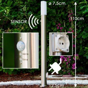 Caserta Lampada da terra per esterno Acciaio inox, 1-Luce, Sensori di movimento