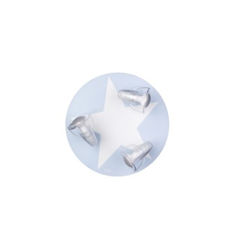 Waldi Mimbel Plafoniera Blu, Bianco, 3-Luci