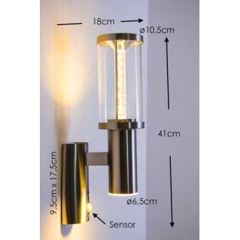 Popoyan Applique da esterno LED Acciaio inox, 2-Luci, Sensori di movimento
