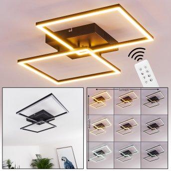 Cheka Plafoniera LED Nero, 2-Luci, Telecomando